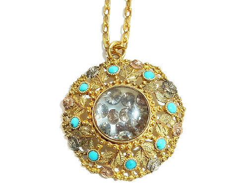 Antique Gold Pendant Set With Turquoise And A Centre Of Champagne Diamonds