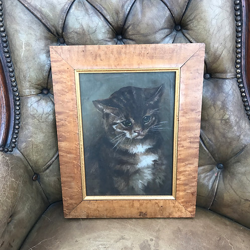 Adorable Antique Kitten Painted On Canvas Under Glass Circa 1900 In Carved Maple