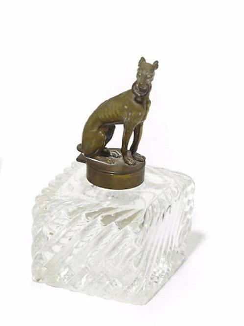 Victorian Greyhound Inkwell, Brass Greyhound