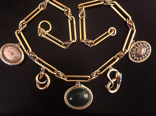 Antique Gold Snake Necklace