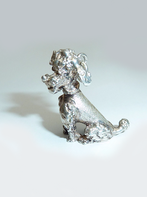 Vintage Seated Silver Poodle Charm