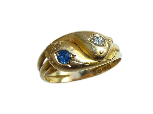 Victorian 18 Carat Double Snake Ring With Sapphire And Diamond Detailing