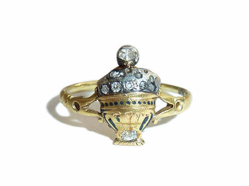 Georgian 18 Carat Gold And Diamond Urn Locket Ring