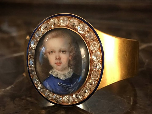 High Carat Gold Bracelet With A Portrait Of Boy With 5.75 Ct Of Old Cut Diamonds