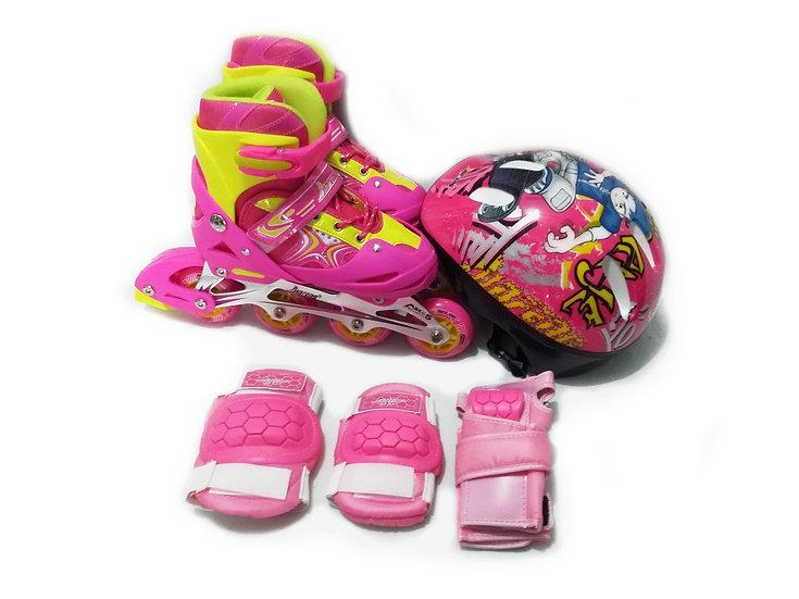 Combo Patines Infantiles, mochila, casco y protecciones