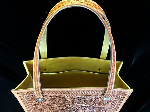Handmade Flower Carved Leather Tote