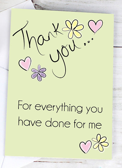 Personalised Thank You Flower & Heart Greeting Card