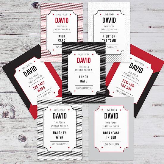 Personalised 24 Love Token Cards
