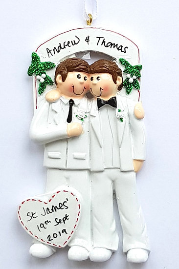 Personalised Gay Male Wedding Couple Hanging Decoration Ornament