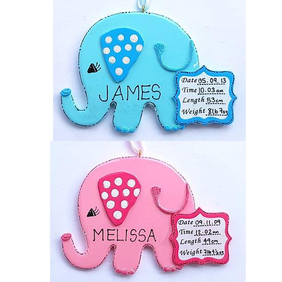 Personalised Baby Elephant Hanging Decoration Ornament