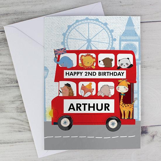 Personalised Child's London Animal Bus Greeting Card