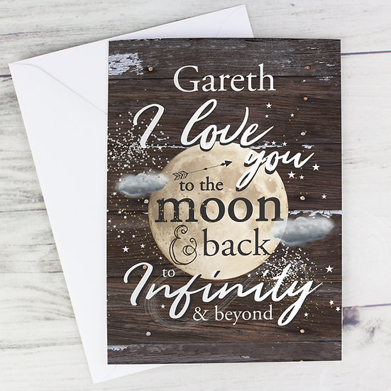 Personalised To the Moon & Infinity... Greeting Card