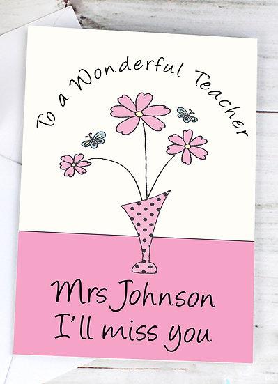 Personalised Wonderful Teacher Greeting Card