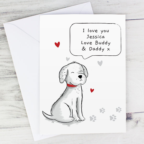 Personalised From The Dog Speech Bubble Greeting Card