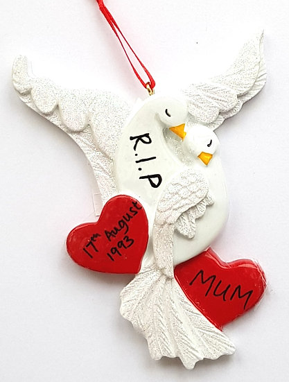 Personalised Doves Hanging Decoration Ornament