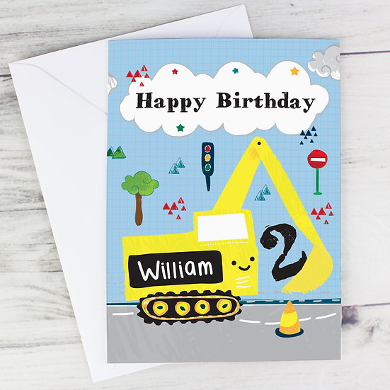 Personalised Child's Digger Birthday Card