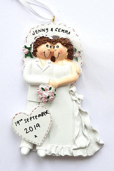 Personalised Gay Female Wedding Couple Hanging Decoration Ornament