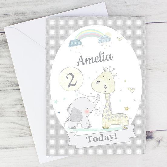 Personalised Child's Giraffe & Elephant Greeting Card