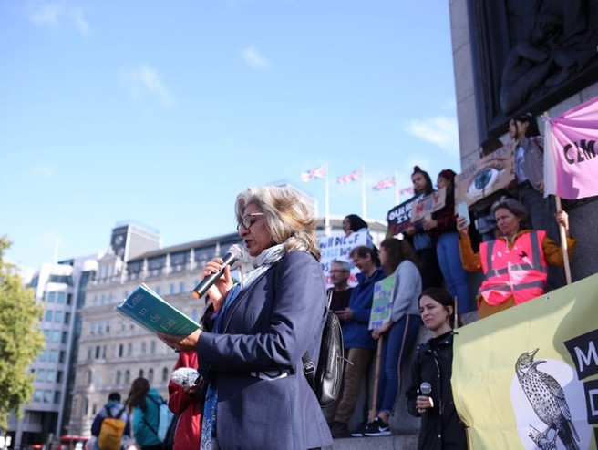 Farhana Yamin reads her Letter to the Earth at the Youth Strike 4 Climate 'Rally for the Imagination', Trafalgar Sq, 27th Sept 2019