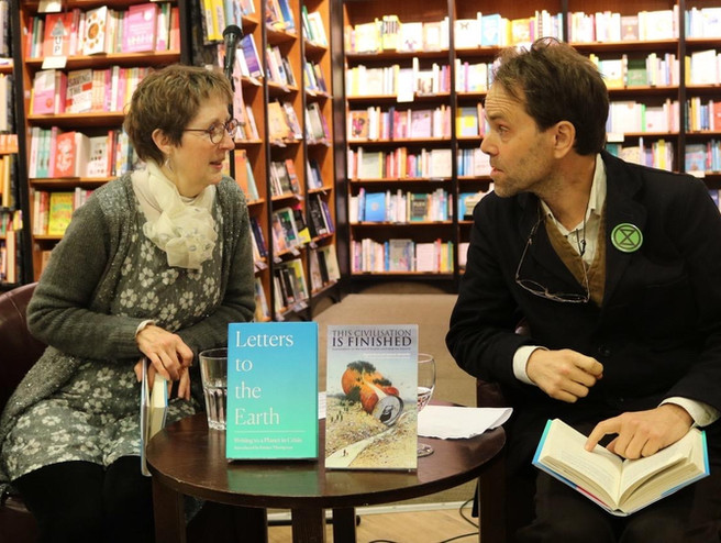 Mary Benefiel & Rupert Read at the Letters to the Earth Book Launch at Waterstones, Norwich, Feb 2020