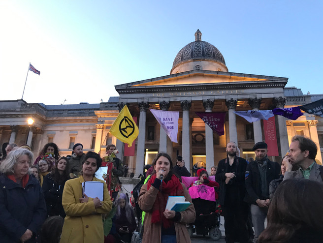 Kay Michael reads from Letters to the Earth at the Autumn Rebellion Closing Ceremony, Trafalgar Sq, 2019