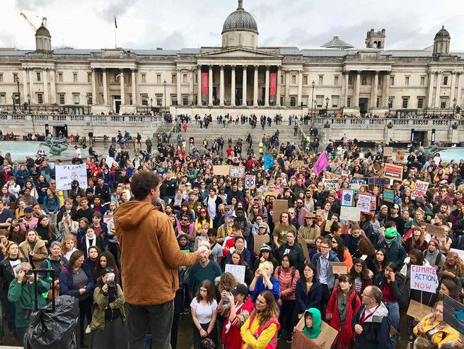 Sam Lee sings his Letter to the Earth at the Youth Strike 4 Climate 'Rally for the Imagination', Trafalgar Sq, 27th Sept 2019