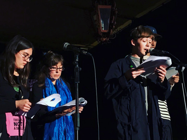 Alex Lawther, Archie Madekwe, Jay Griffiths and Youth Strikers perform Letters to the Earth at Vauxhall Tea House Theatre, October 2019