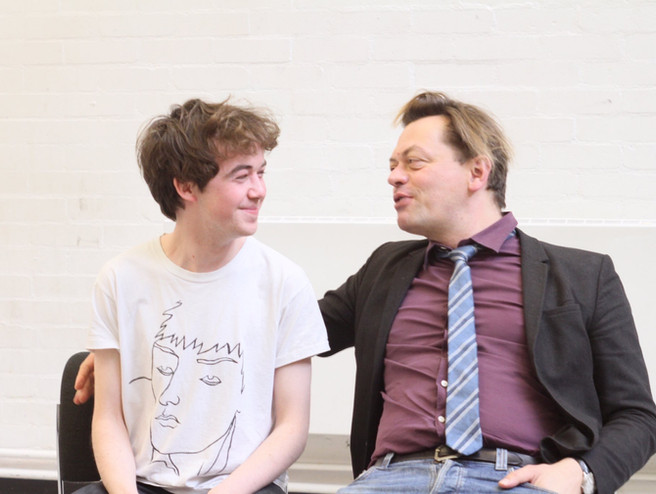 Alex Lawther and Simon Stephens in rehearsal at National Theatre Studio working on Oscar Stephen's Letter 'It's Not That I'm Angry'