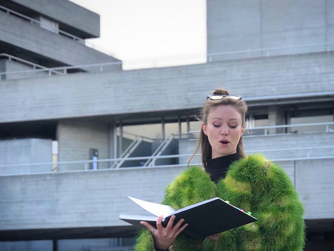 Actor Tamaryn Payne reads Tamara Ashley 'From Broken to Breaking' on the launch of CDE, outside the National Theatre, April 3rd 2019