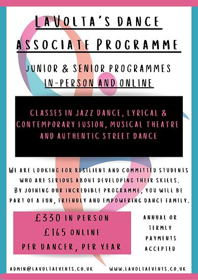 Dance Associate Programme Junior In-Pers