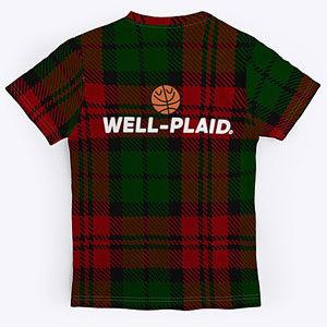 Plaid basketball t-shirt.