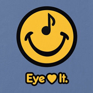 Eye love music t-shirt design in many colors.