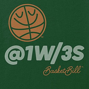 Basketball three-point t-shirt, also available on long sleeve, and hoodies in many colors.