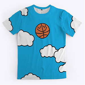 Basketball t-shirt with sky and clouds background in mens and womens.