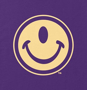 One-eyed smiley face shirt in many colors, mens and womens.