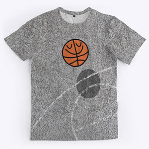Playground basketball t-shirt with BasketBill on a concrete court in several styles of shirts, hoodies, gifts