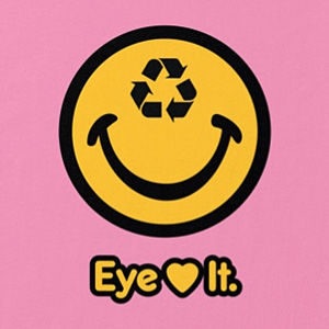 Eye love recycling environmental t-shirt design in many colors.