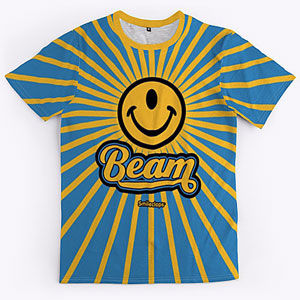 Positive rays t-shirt with a one-eyed smiley face, also on sweatshirts, hoodies, mugs, and gifts.