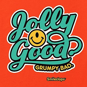 Jolly good t-shirt with a one-eyed smiley face, also on sweatshirts, hoodies, mugs, and gifts.