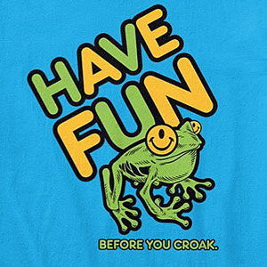 Have fun t-shirt with a one-eyed smiley face, also on sweatshirts, hoodies, mugs, and gifts.