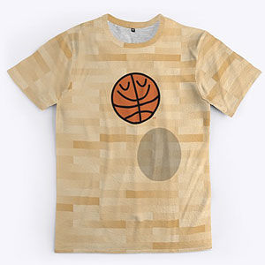 Basketball design t-shirt with BasketBill on a wood court in several styles for men and women.