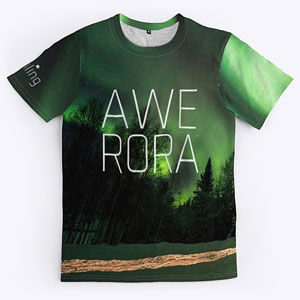 Northern lights t-shirt design that can also be found on phone cases, blankets and posters.