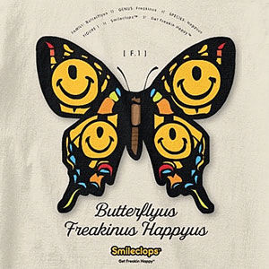 Butterfly t-shirt with a one-eyed smiley face, also on sweatshirts, hoodies, mugs, and gifts.