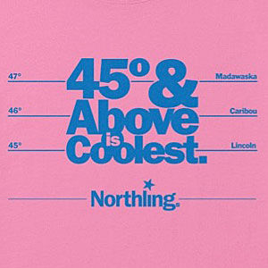 North Maine travel t-shirt design in several colors.