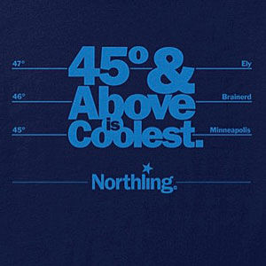 North Minnesota travel t-shirt design in several colors.