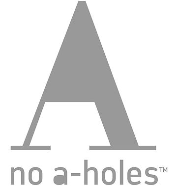 The Official No A-Holes™ logo. It's an A with no hole letter.