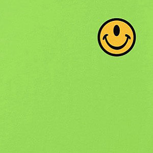 A small, chest-pocket-area one-eyed smiley face in many colors, mens and womens.