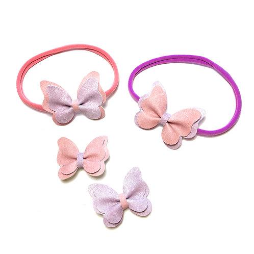 Leptirići roze-ljubičaste šnalice i trakice za kosu