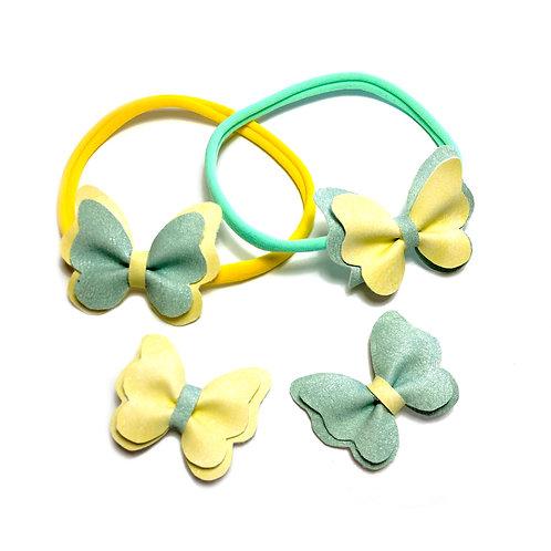 Leptirići žuto-zelene šnalice i trakice za kosu