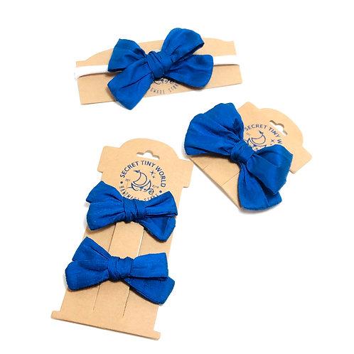 Hand tied silk bow hair clips and headband
